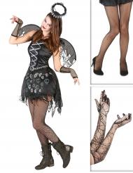 Pack de disfarce anjo gótico com collants e luvas Halloween