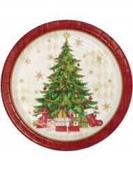 8 Pratos de cartão vermelhos árvore de Natal