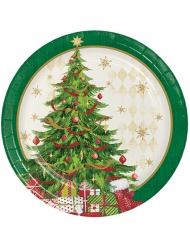 8 Pratos de cartão árvore de Natal