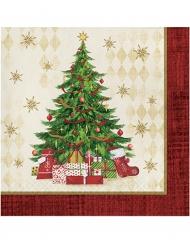 16 Guardanapos papel árvore de Natal 33 x 33 cm