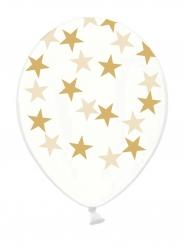 6 Balões transparentes estrelas douradas