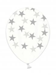 6 Balões transparentes estrelas prateadas