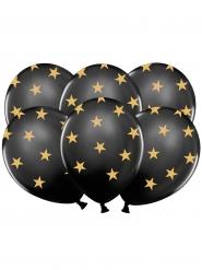 6 Balões látex pretos estrelas douradas