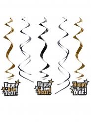 5 Decorações para pendurar Happy New Year preto e dourado