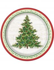 8 Pequenos pratos de cartão árvore de Natal