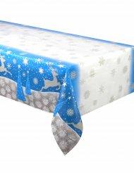 Toalha de plástico flocos e rena de Natal