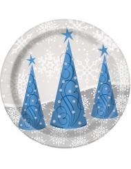 8 Pequenos pratos flocos e rena de Natal