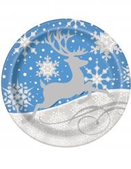 8 Pratos Flocos e rena de Natal