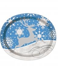 8 Pratos grandes ovais folcos e rena de Natal