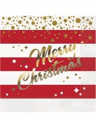 16 Guardanapos de papel Natal vermelhos e dourados