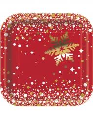 8 Pequenos pratos de cartão Natal vermelho e dourado