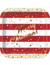 8 Pratos de cartão Natal vermelhos e dourados