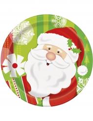 8 Pratos pequenos de cartão Pai Natal 18 cm