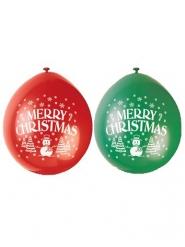 10 Balões látex vermelho e verde Merry Christmas
