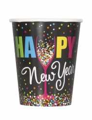 8 Copos de cartão Happy New Year confetis