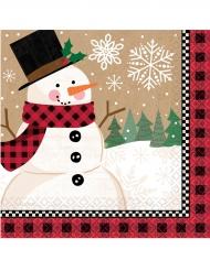 16 Guardanapos pequenos de papel boneco de neve