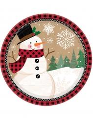 8 Pequenos pratos de cartão boneco de neve