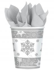 8 Copos de cartão flocos de neve