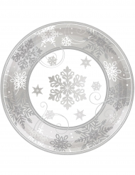8 Pequenos pratos de cartão flocos de neve