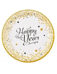 8 Pratos de cartão Happy New Year dourado