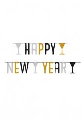 Grinalda happy New Year prateada preta e dourada