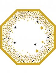 6 Pratos estrelas pretas e douradas