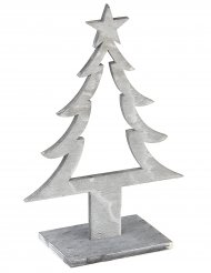 Decoração árvore de Natal em madeira cinzenta