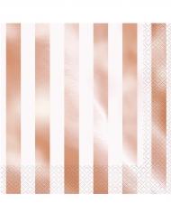 16 Guardanapos de papel  às riscas cor-de-rosa gold 33 x 33 cm