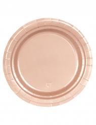 8 Pequenos pratos de cartão cor-de-rosa gold 18 cm