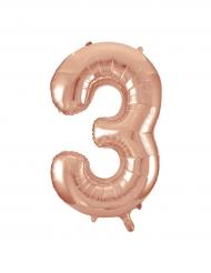 Balão alumínio cor-de-rosa gold número 3 - 86.3 cm