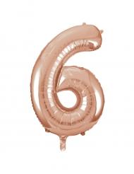 Balão alumínio cor-de-rosa gold número 6 - 86.3 cm