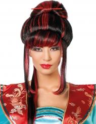 Peruca chinesa vermelha e preta mulher