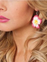 Brincos flor cor-de-rosa Havaí adulto