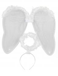 Kit anjo com asas e auréola adulto