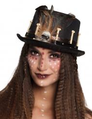 Chapéu alto vudu preto adulto