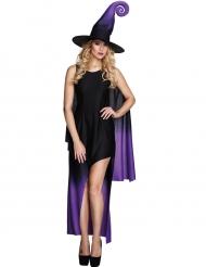 Disfarce bruxa preta e lilás mulher Halloween