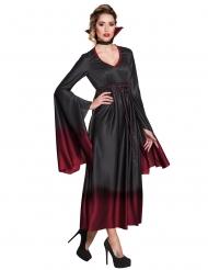 Disfarce vampiro preto e vermelho mulher Halloween