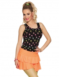 Mini saia com folho cor de laranja adulto