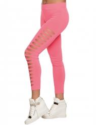 Legging furada cor-de-rosa adulto