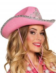 Chapéu princesa cowboy cor-de-rosa mulher
