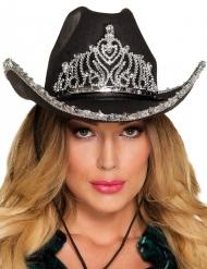 Chapéu de princesa cowgirl preto mulher