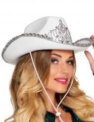 Chapéu princesa cowboy branco mulher
