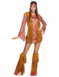 Disfarce hippie Peace com franjas mulher