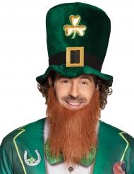 Chapéu alto trevo dourado adulto com barba São Patrício