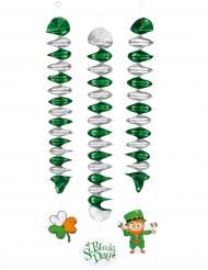 3 Decorações para pendurar espirais São Patrício 60 cm
