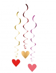 3 Decorações para pendurar espiral Love you 85 cm