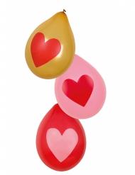6 Balões corações Love you 25 cm