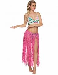 Saia havaiana comprida cor-de-rosa ráfia adulto
