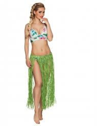 Saia havaiana comprida verde ráfia adulto