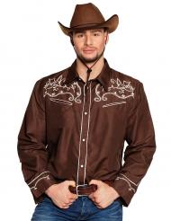 Camisa cowboy faroeste castanha adulto